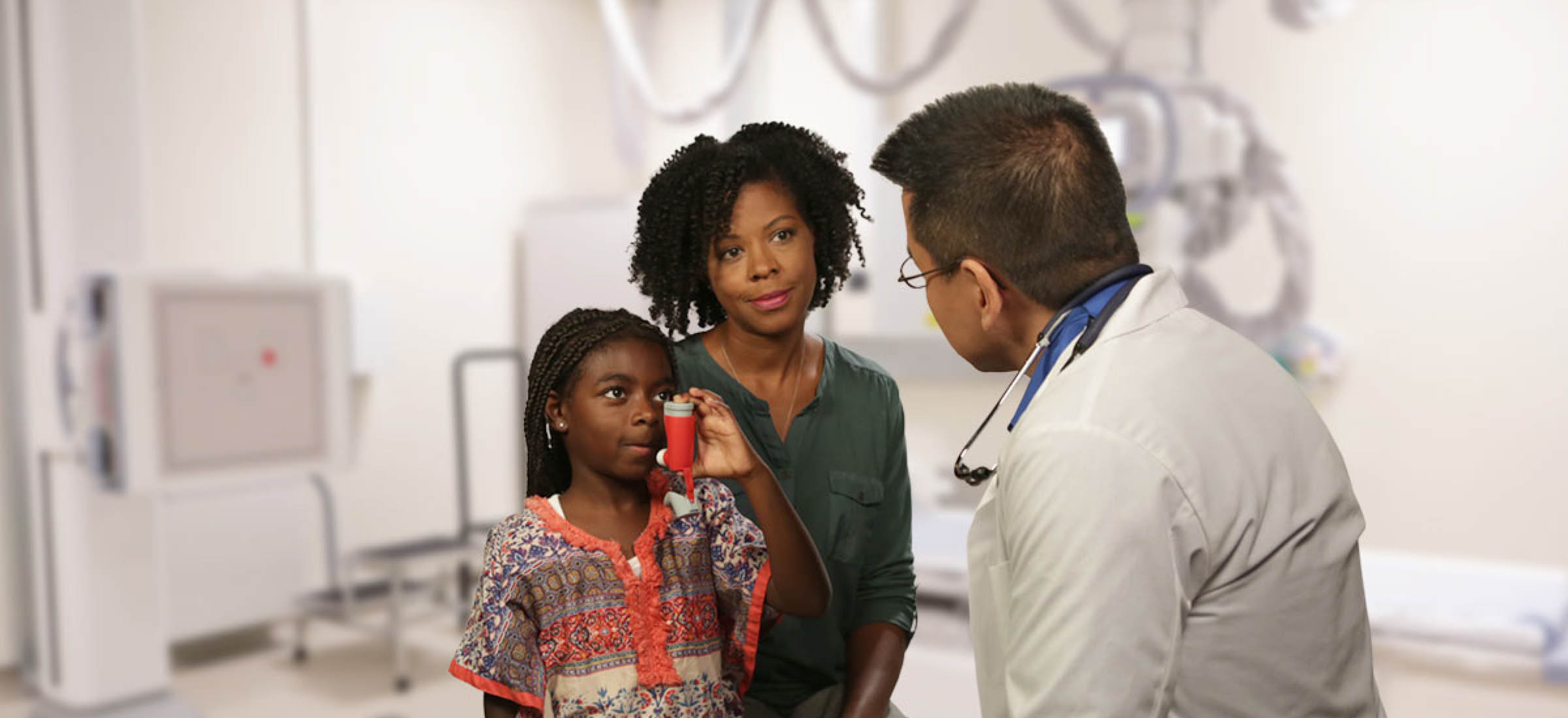 African American child with Asthma talking to a doctor